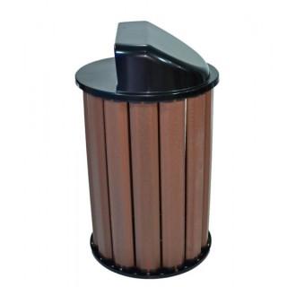 lixeira de madeira plástica