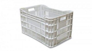 Caixa Plástica Vazada Branca Reciclada